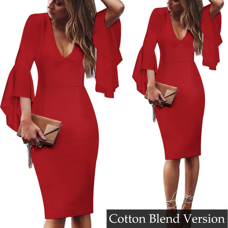 Short Party Gowns Sexy V Neck Long Sleeves Cocktail Dresses 2018 Knee-Length Robe Cocktail Courte Ruffles Casual Bodycon Dress