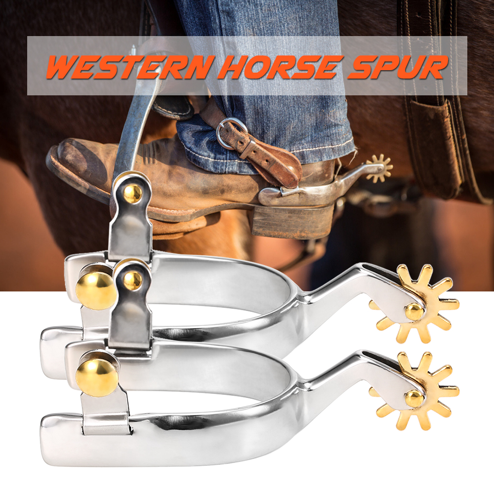 2pcs Anti Rust Western Horse Spurs Stainless Steel With Copper Rowel Horse Racing Equipment Horse Riding Crops & Spurs