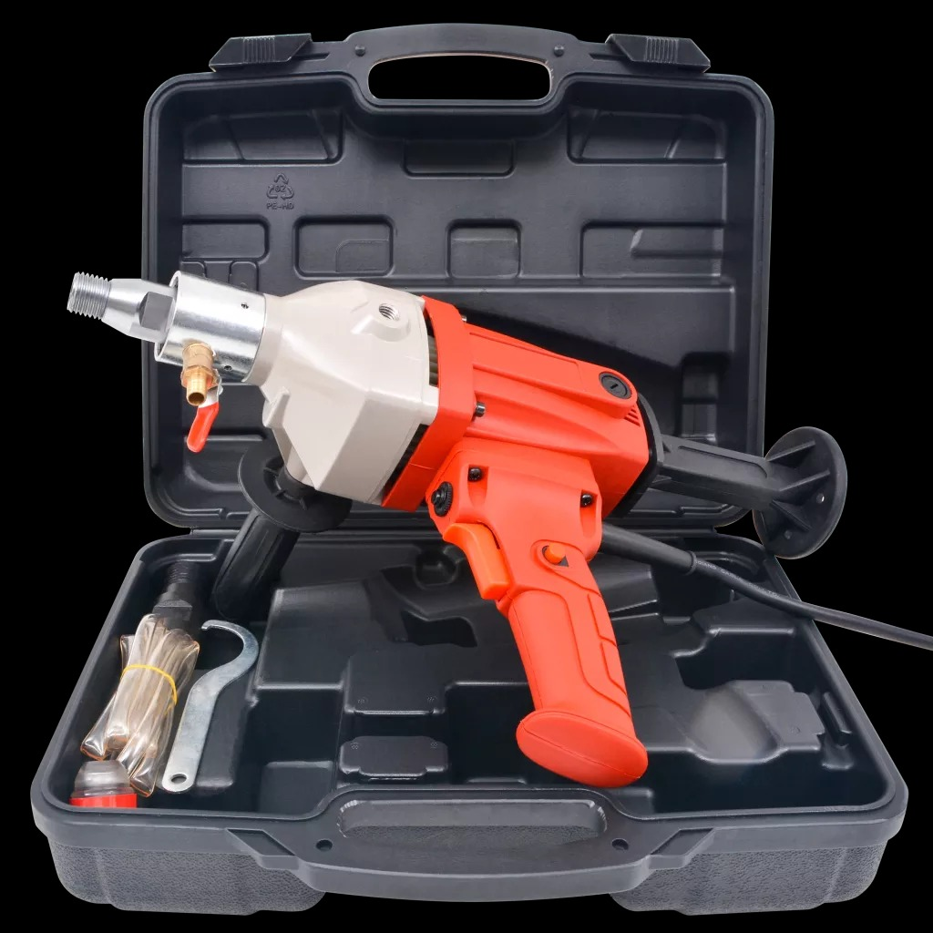 VidaXL 230V 1400W Diamond Core Drill Wet Handheld Concrete Core Drilling Machine With Water Pump Accessories
