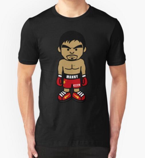 Angry Manny Pacquiao Cartoon T Shirts Cotton Short Sleeve O-Neck T-shirts Boxer tee shirts