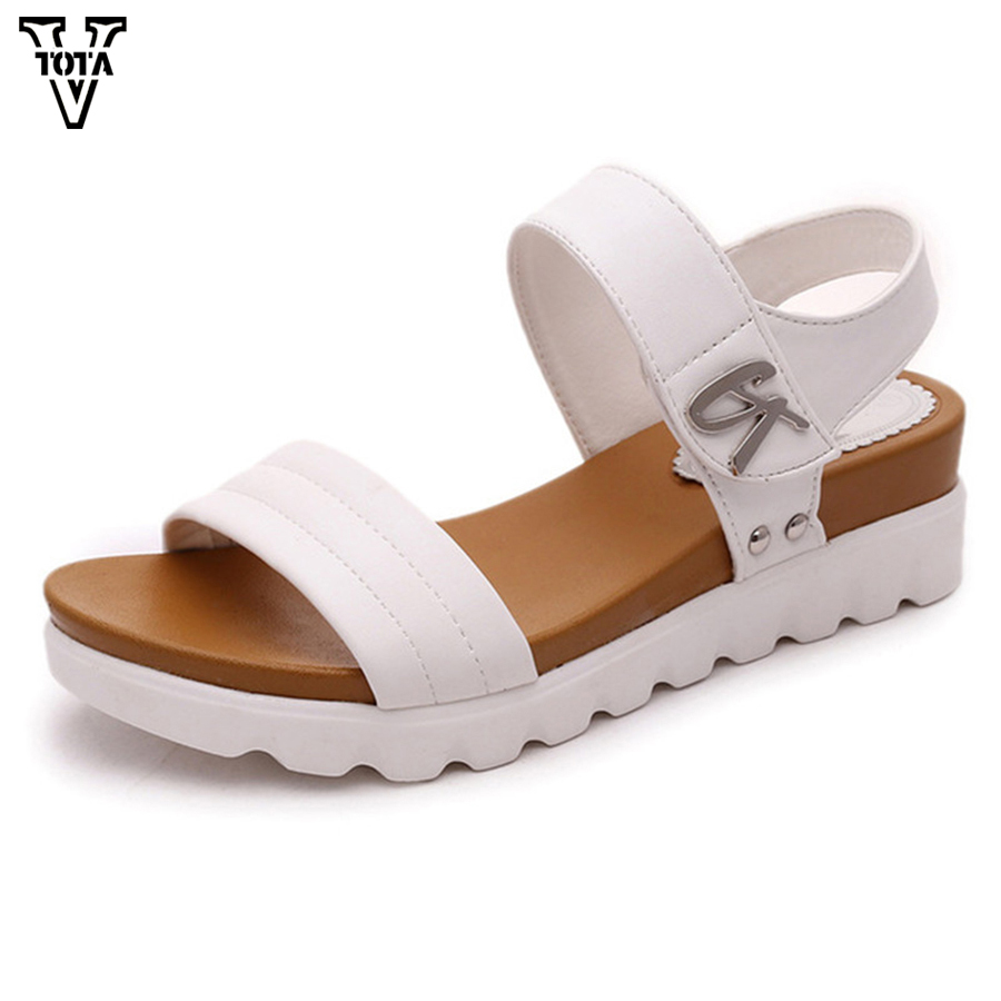 VTOTA Fashion Sandals Women Summer Shoes Slip-On Shoes Woman Platform Sandals Female Shoes Comfortable Zapatos Mujer X600 women creepers shoes 2015 summer breathable white gauze hollow platform shoes women fashion sandals x525 50