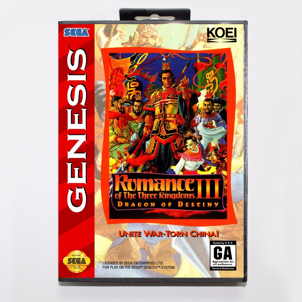 Romance of the Three Kingdoms III Dragon of Destiny 16 bit MD Game Card With Retail Box For Sega Mega Drive For Genesis
