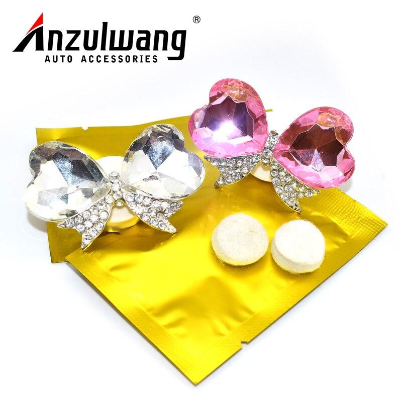 ANZULWANG artificial crystal bow tie car modeling air conditioning perfume car interior air freshener car air outlet perfume