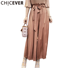 CHICEVER Summer High Waist Fold Trousers For Women 2017 Loose With Belt Chiffon Wide Leg Female Calf Length Pants New Korean