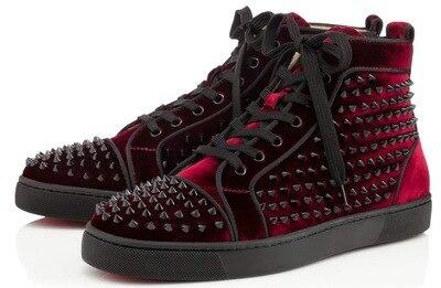 24c6d019d82 2015 new Burgundy Velvet Spikes Red Bottom shoes Men women High Top Red  Sole casual shoes Studded studs Rivet Flats