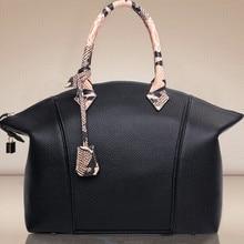 2016 NEW TOP Women's Handbag Genuine UNEQUAL PU Shoulder bag Serpentine tote Snake Satchel  PU Fashion bag for girl