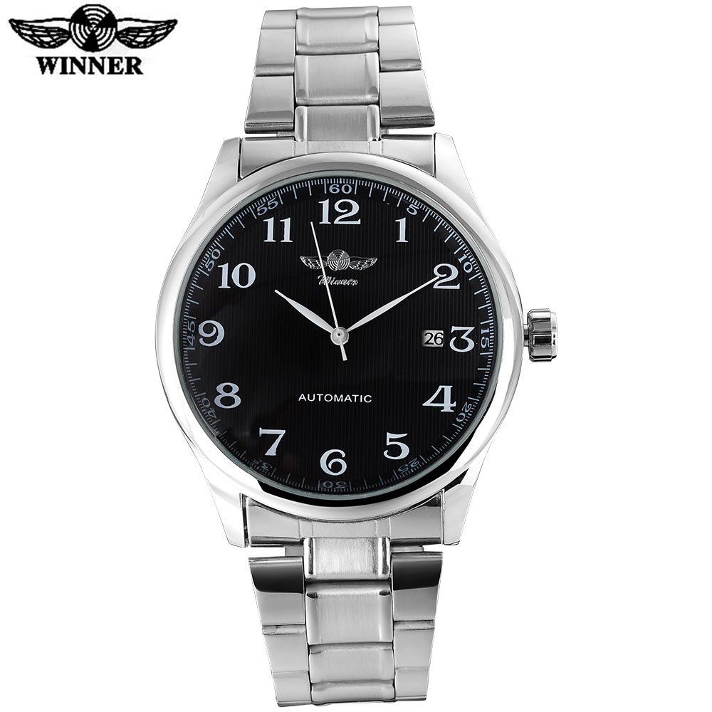 2017 WINNER famous brand men business automatic self wind watches black dial transparent glass silver case
