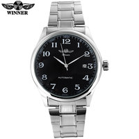 2016 WINNER Famous Brand Men Business Automatic Self Wind Watches Black Dial Transparent Glass Silver Case