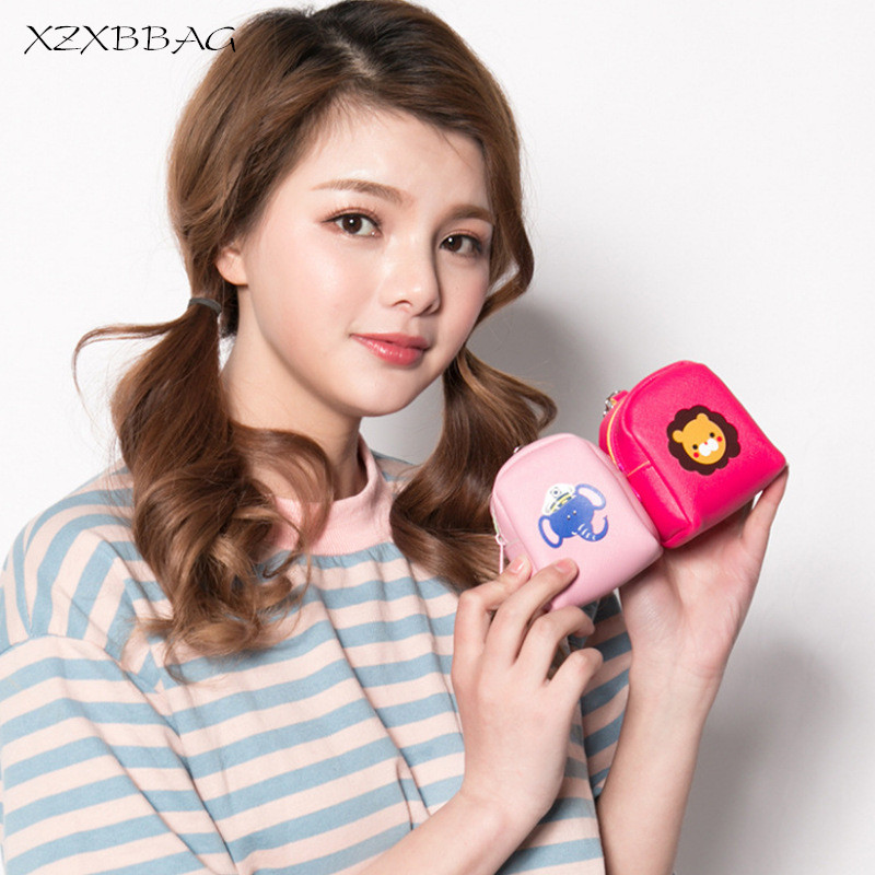 XZXBBAG Fashion Simplicity Small  Lovely Funny Animal Zipper Bag Female Bab Girls Cartoon Short Key Package Students Zero Wallet