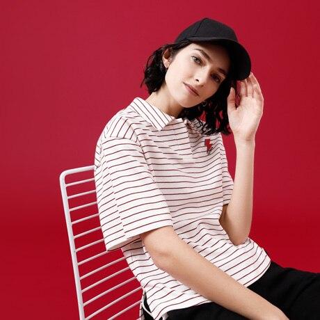 Toyouth Kawaii Blitz Gedruckt T-shirt Brief Stickerei Tops Lose Streifen Kurzen Ärmeln T-shirts für Frauen T Shirt Femme