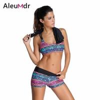 Tribal Printed Tankini With Boyshort Bikini Set 3pcs Women Swimwear With Briefs 41996