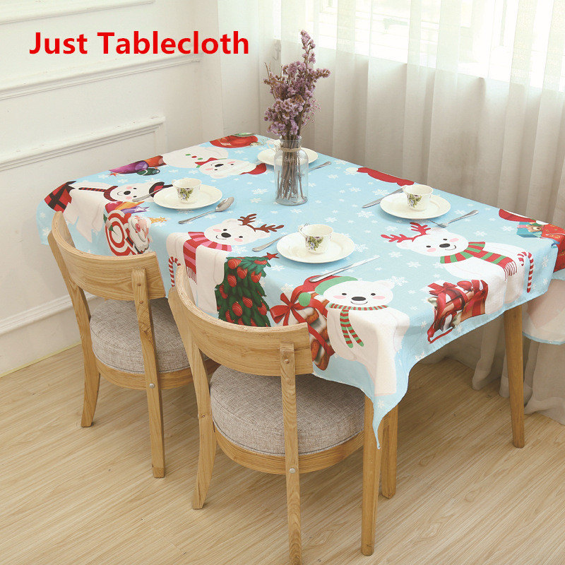 Table Covers Christmas Tablecloth Oilcloth Waterproof Santa Claus Ornaments Table Decoration Party Home Cosplay Costumes