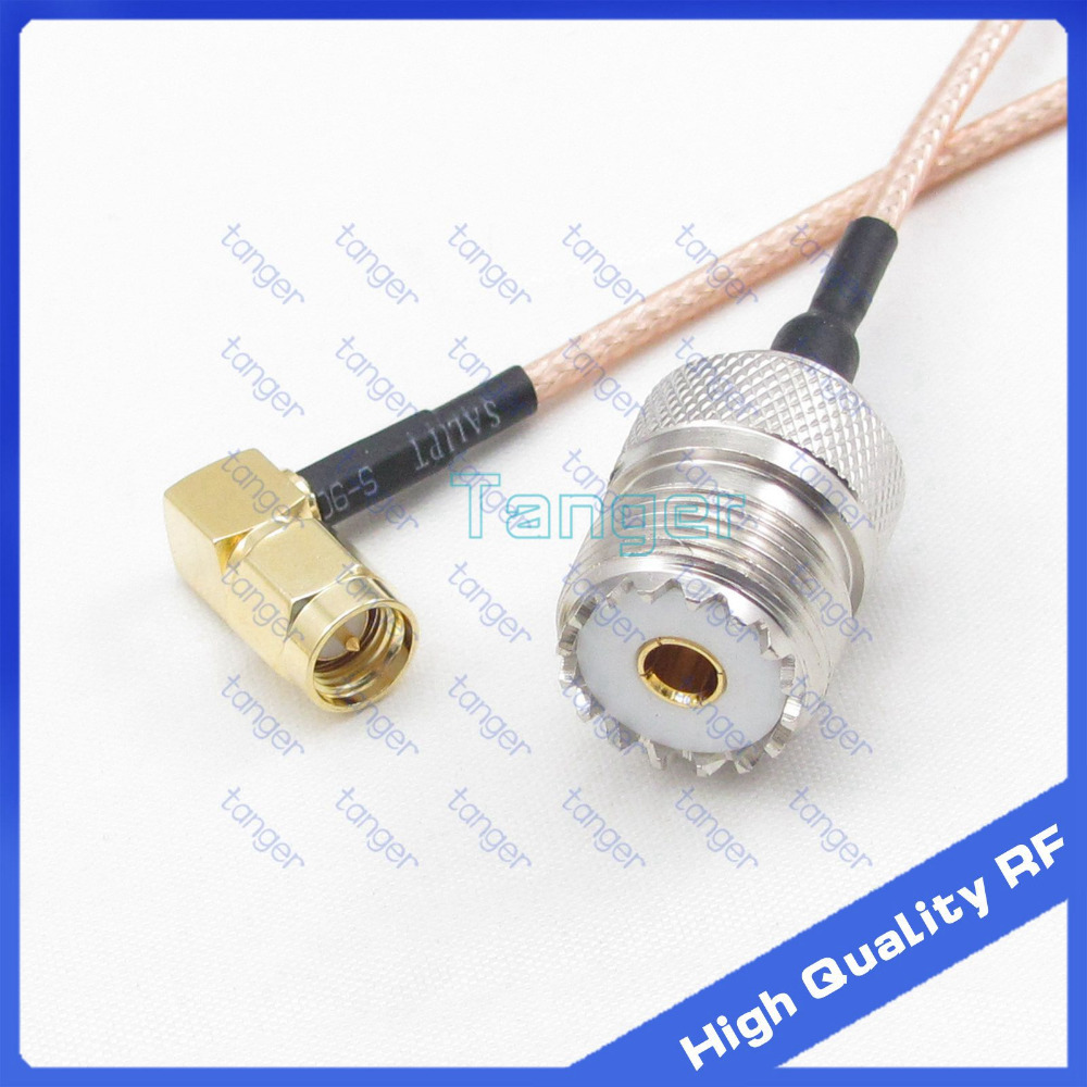 Tanger UHF female jack SO-239 to SMA male plug right angle connector with 20cm 8 RG316 RF Coaxial Pigtail High Quality cable bnc male right angle plug to rp sma female jack adapter 15cm 6 rf coaxial cable pigtail connector