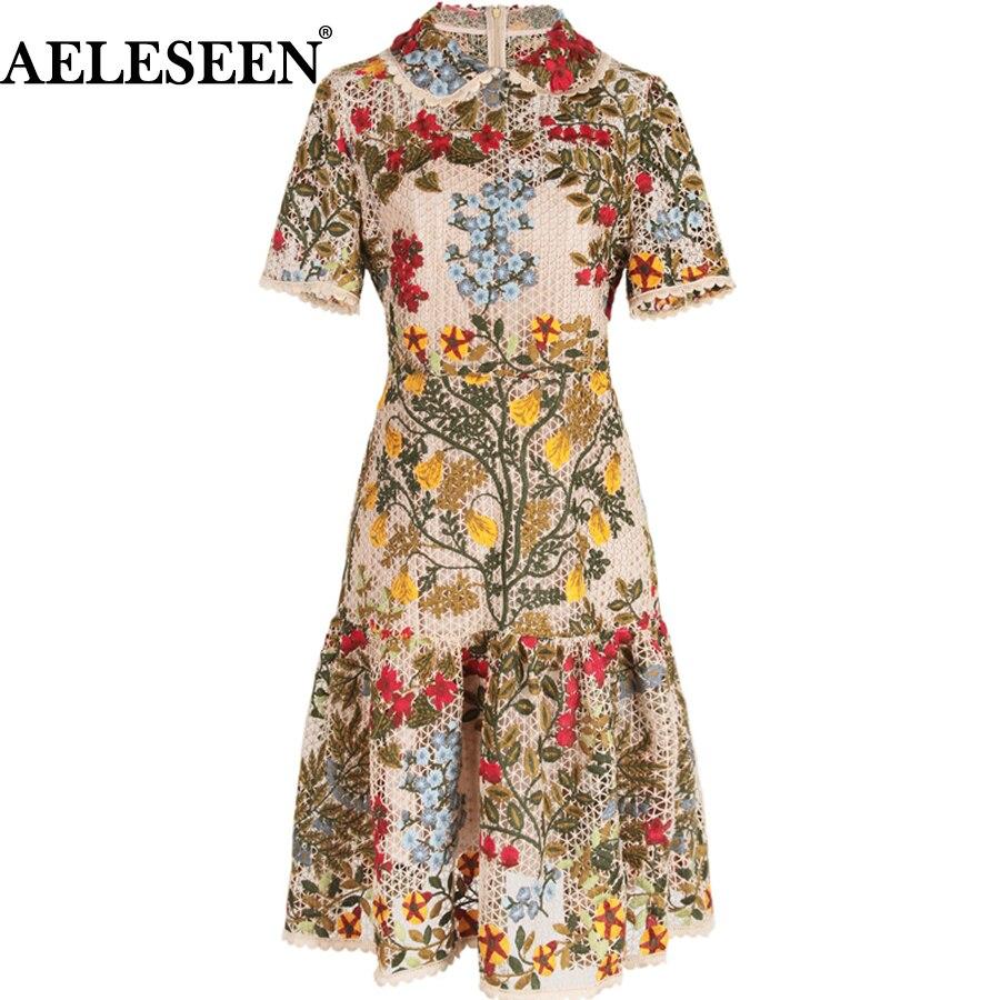 AELESEEN Роскошные вышивки Для женщин платья модный пэчворк 2018 A Line взлетно посадочной полосы Европейский Питер Пэн воротник длиной выше колена