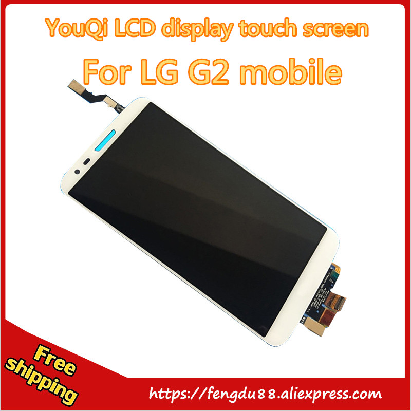 YouQi 100% test white black for lg g2 D802 lcd screen touch screen full assembly with Digitizer spare part Free shipping youqi 100