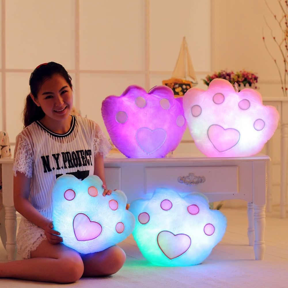 Новая музыка яркая светодиодная лампа подушки-игрушки Светящиеся мягкая плюшевая подушка красочный медведь лапы и звезды для девочек Игрушки для подарок на день рождения