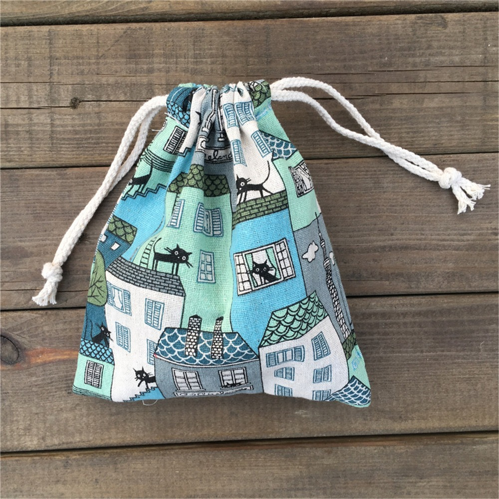 YILE 1pc Cotton Linen Drawstring Pouch Party Gift Bag Print Black Cat House Blue YL812d