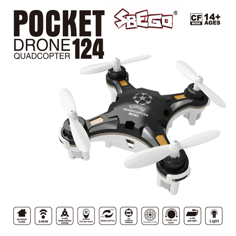 SBEGO FQ777-124 Mini Drone Kit Micro Pocket 4CH 6Axis Gyro Switchable Controller RC Helicopter Kids Toys Quadcopter VS H37 Drone