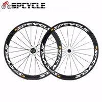 Spcycle 50mm Racing Full Carbon Fiber Road Bike Wheels,700C Road Bicycle Carbon Clincher Wheels 25mm width Powerway R13 Hubs