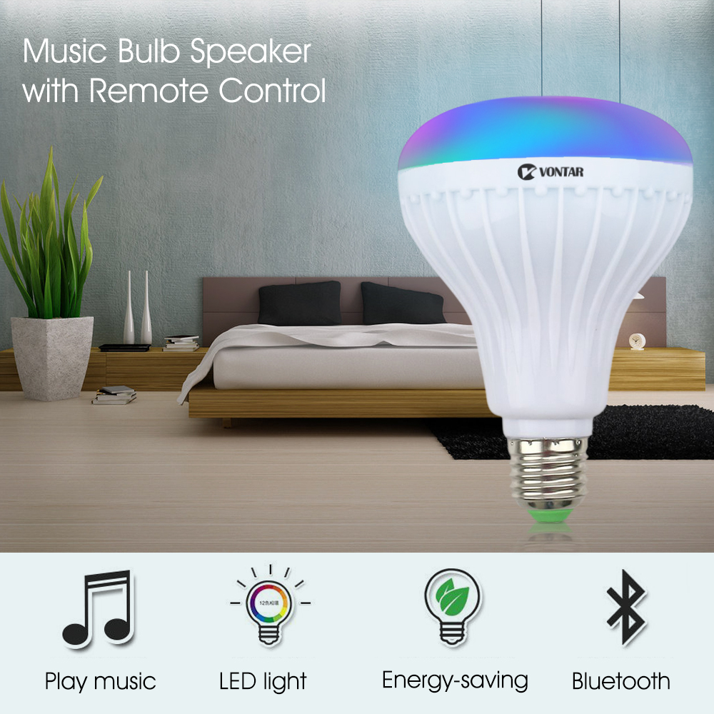 VONTAR E27 B22 Wireless Bluetooth Speaker+12W RGB Bulb LED Lamp 110V 220V Smart Led Light Music Player Audio with Remote Control 1