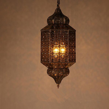 American Retro industrial lamp Southeast Restaurant LED Pendant Lamp Bar Cafe Handmade Iron Hollow LED Hanging Light