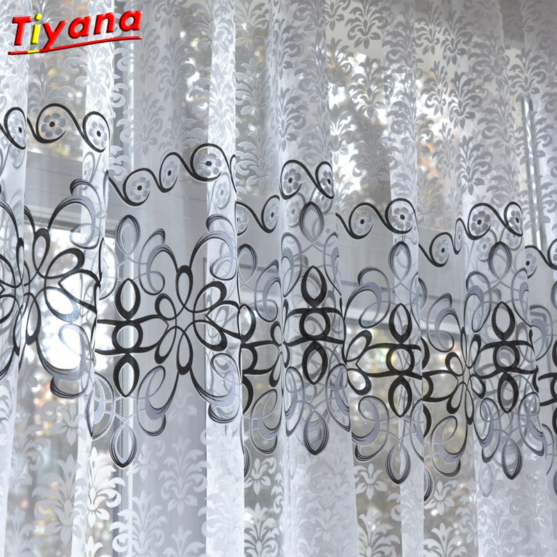 US $7.92 37% OFF|Morden Gray Jacquard Tulle European Curtains Kitchen  Curtains Short Rideaux Window Curtain Panels for Living Room Cortinas 30-in  ...