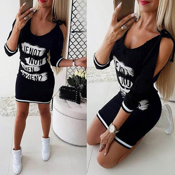 цены Casual Women Letter Print Cold Shoulder Long Sleeve Slim Fit Bodycon Mini Dress chic