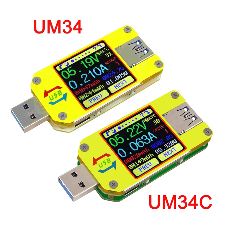 RD UM34 UM34C USB 3.0 LCD Display Tester Voltage Current Meter Amp Type-C Tester
