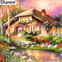 Dispaint Full Square/Round Drill 5D DIY Diamond Painting House flower scenery 3D Embroidery Cross Stitch Home Decor A11122