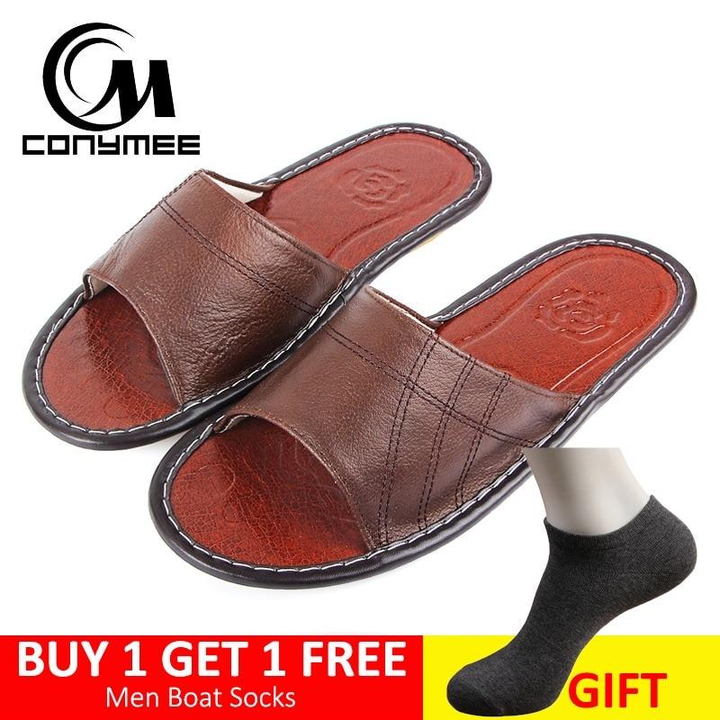 87fc4299 CONYMEE 2018 Letni Mężczyzna Prawdziwej Skóry Pantofle Buty Mężczyźni  Sneakers Dla Domu Plażowe Klapki Big Size