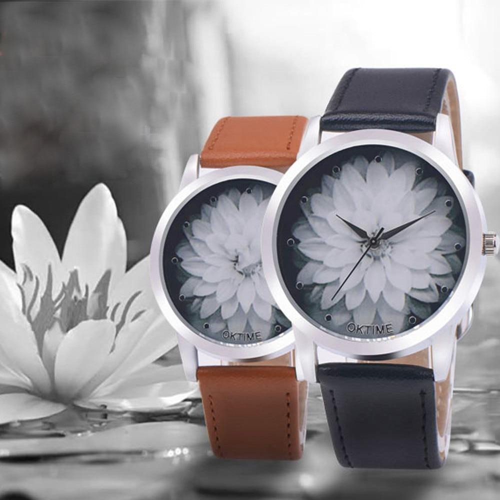 New Fashion Wild Style Ladies Watch Women Lotus Flower Casual Leather Quartz Wrist Watches Quartz Clock Gift Relogio Feminino #A