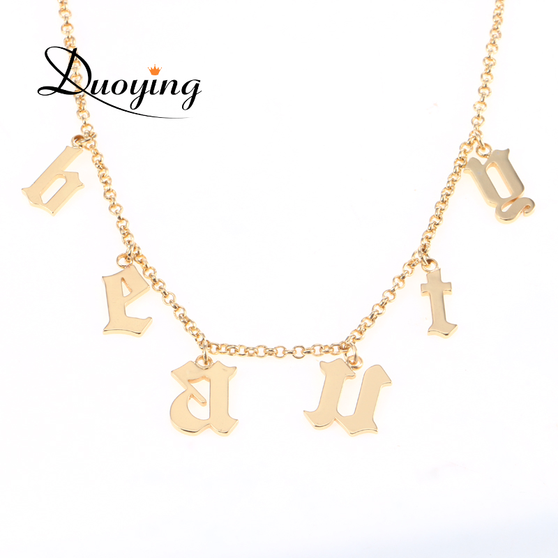 ed957a77ddbd0 US $14.21 21% OFF|DUOYING Old English Name Necklace Gothic Choker Beauty  Custom Vintage Font Personalized Tiny Letter Pendant Necklaces for Etsy-in  ...
