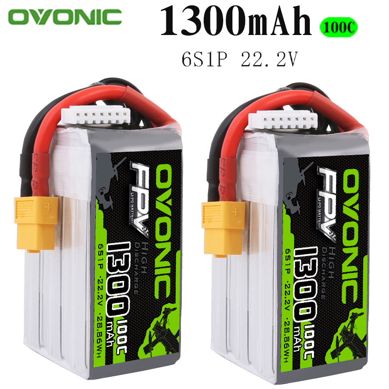 2PCS Ovonic 22.2V <font><b>1300mAh</b></font> 100C 6S1P <font><b>LiPo</b></font> Battery Pack with XT60Plug for Tiny Quad RC Airplane Small Helicopter DIY Parts image