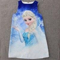 Elsa 2016 Girls Dress Baby Girl Clothing Set Children One Piece Dresses Cartoon Snow Queen Kids