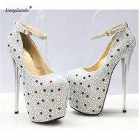 LLXF zapatos Plus:34 41 42 43 Stiletto Ladies platforms Retro Rhinestone Shoes women 19cm thin High Heeled female Dress Pumps