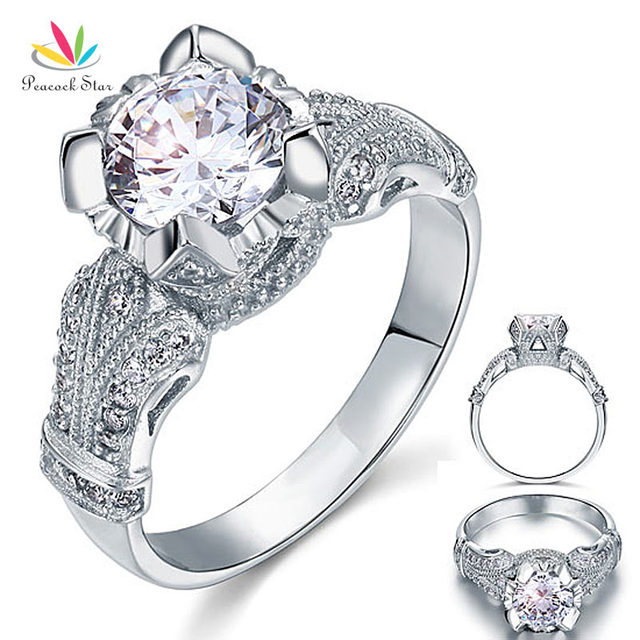 Peacock Star Vintage Victorian Style 2 Carat Solid 925 Sterling Silver  Wedding Engagement Ring CFR8088