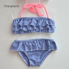 bedca458ac Girls 2 Pieces Blue/Green/Orange Stripe with Layered Frills Bikini Set