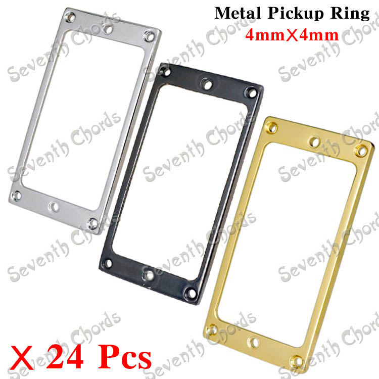 24 Pcs 3 Colors Metal Flat bottom Humbucker Pickup Ring for Electric Guitar Replacement Pickup Frame