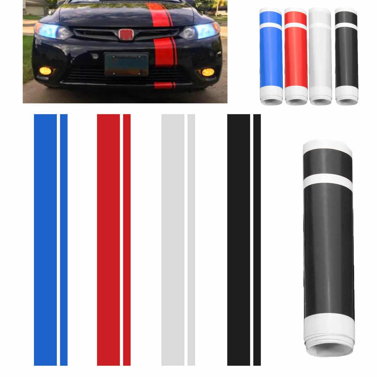 Universal Racing Stripe Car Decals And Stickers 1x 6 Hood Stripe Auto  Graphic decal Vinyl Car Truck Vehicle Body Racing Stripe