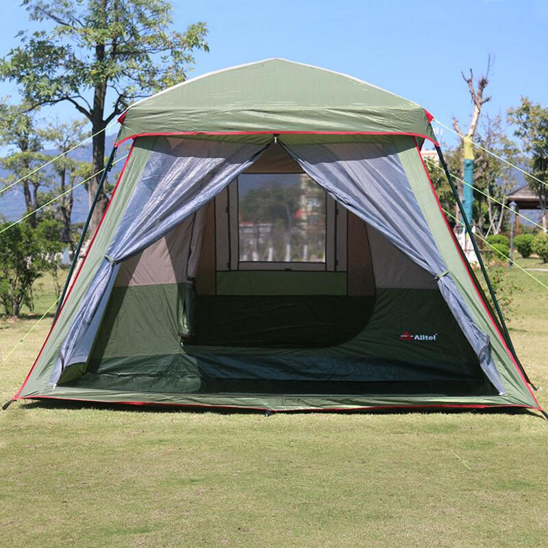 Big Tourism Tent 3-4 Person Waterproof Double Layer Awning Garden Pergola Outdoor Party Family Camping Tents 380*265*H200CM image