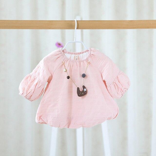 Осенью 2016 новый милый детская одежда платье детские девушки одеваются детская хлопок блузка платье цвет все-матч девочек одежда