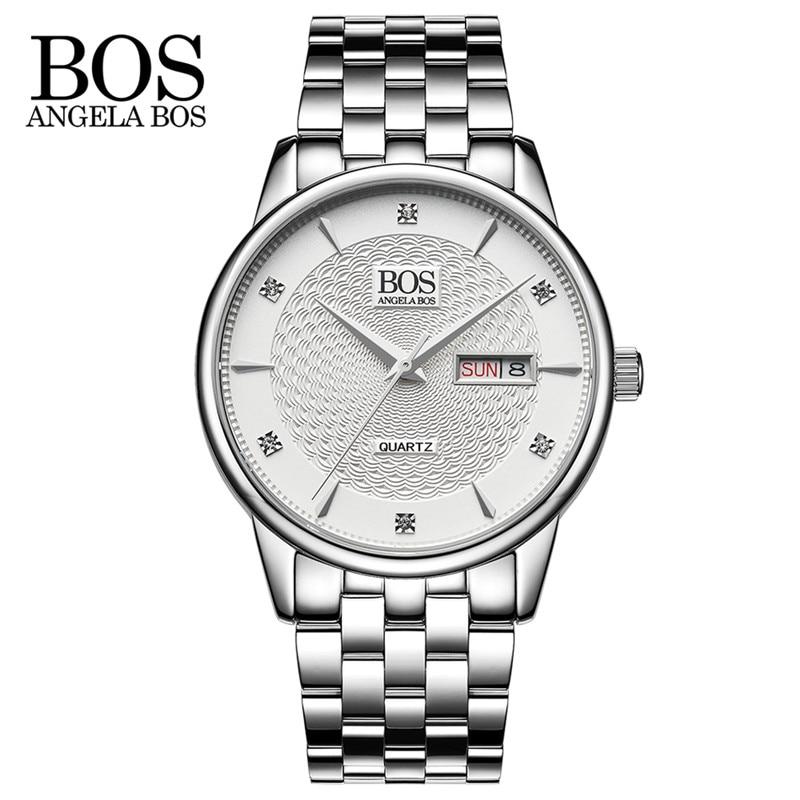 ANGELA BOS Luxury Fashion Classical Men's Quartz Watch Metal Strap Business Wristwatches Horloge Mannen Top Brand Watches Men