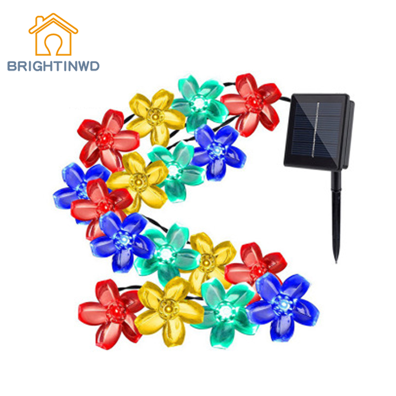 Solar Lights String 50LED NiMH Battery IP65 Festival Gecoration 8Color 7M Waterproof Peach Blossom Garden Fence Lighting