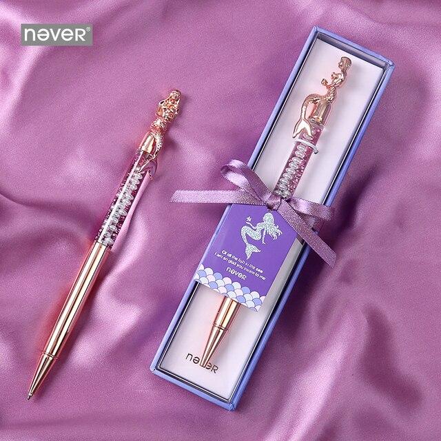 Never serie de sirenas bolígrafos de bola de 0,7mm, bolígrafo de lujo de oro rosa para oficina, regalo de papelería, suministros escolares para estudiantes