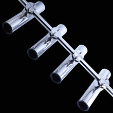 4pcs Stainless Steel Clamp On Fishing Rod Holder Hollow Base Adjustable For 7/8″-1″