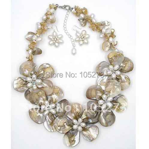 Natural Mother Of Pearl Shell Freshwater Pearl Flower Necklace & Earring Jewelry Set 18inchs 925S Earring Free Shipping FN2187Natural Mother Of Pearl Shell Freshwater Pearl Flower Necklace & Earring Jewelry Set 18inchs 925S Earring Free Shipping FN2187