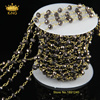 Jewelry Necklace Antique Bronze Chain Women Long Glass Beads Chain Rosary Style With Gun Black Rondelle