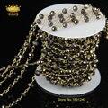 Ювелирные изделия ожерелье античная бронзовая сеть женщины длинные стеклянные бусины цепи четки стиль с Rondelle бусины JD0100