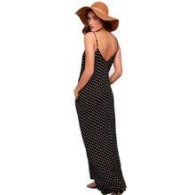 Горячие Для женщин Стильная женская обувь ремешок с v-образным вырезом в горошек Vestidos Soltos Макси Лето длинное Пляжные наряды