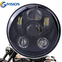 5 3 4 Motorcycle Projector 45W Led Headlight 5 75 Round Led Headlamp Kit For Harley